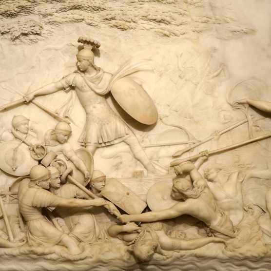 An 18th-century marble relief depicting Julius Caesar invading Britain by John Deare, a British neo-classical sculptor. (Photo by: Universal History Archive/UIG via Getty Images)