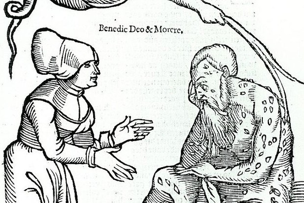 16th century engraving depicting a man with leprosy