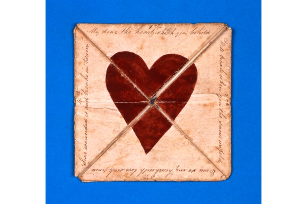 An early hand-made puzzle purse valentine, from c1790. (Private Collection/Bridgeman Images)