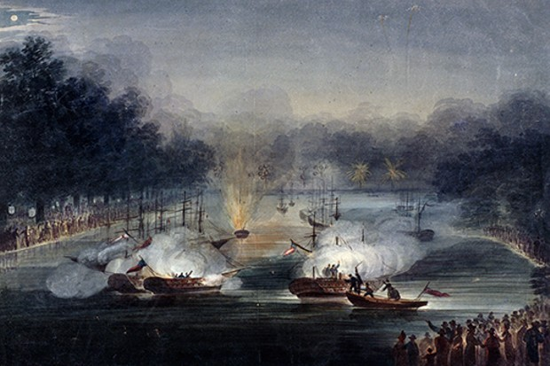 A sham fight staged on the Serpentine in Hyde Park, London, 1814