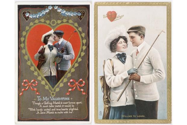 Valentine cards with a golfing theme, 1911. The left card was for the US market, the right card for the British market. The more intimate nature of the card on the left was considered inappropriate at the time in the UK. (Photo by Sarah Fabian-Baddiel/Heritage Images/Getty Images)