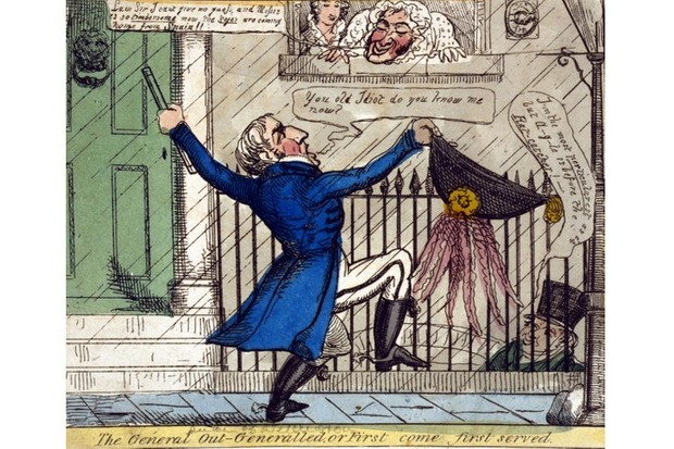 A cartoon depicting the Duke of Wellington, who demands attention outside a house, while the Duke of Argyll, inside with Harriette Wilson, pretends not to recognise him.