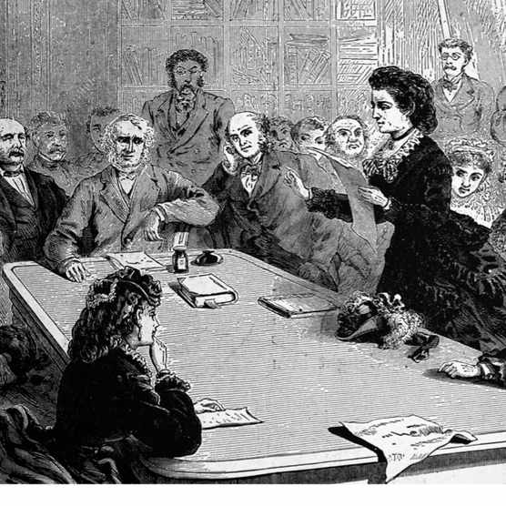 An illustration of Victoria Woodhull addressing a congressional committee on the benefits of women's suffrage, 1871. (Photo by Universal History Archive/UIG via Getty Images)