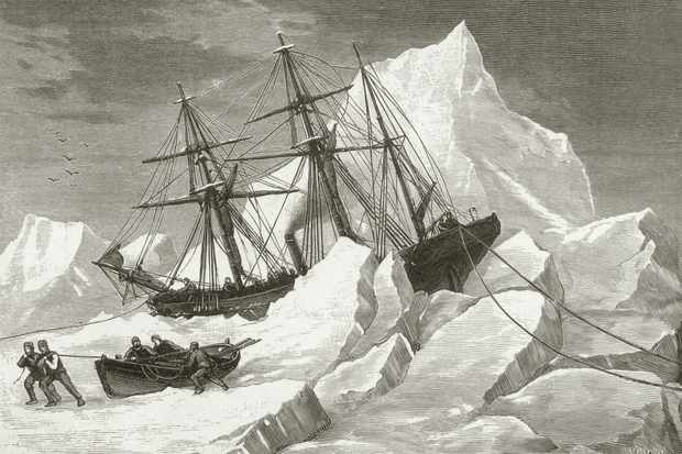 An illustration of HMS Intrepid, under the command of Irish explorer Captain Francis Leopold McClintock, trapped in pack ice in Baffin Bay, c1853. (Photo by Hulton Archive/Getty Images)