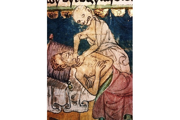 Death strangling a victim of the plague. From the 14th-century Stiny Codex.(Fine Art Images/Heritage Images/Getty Images)