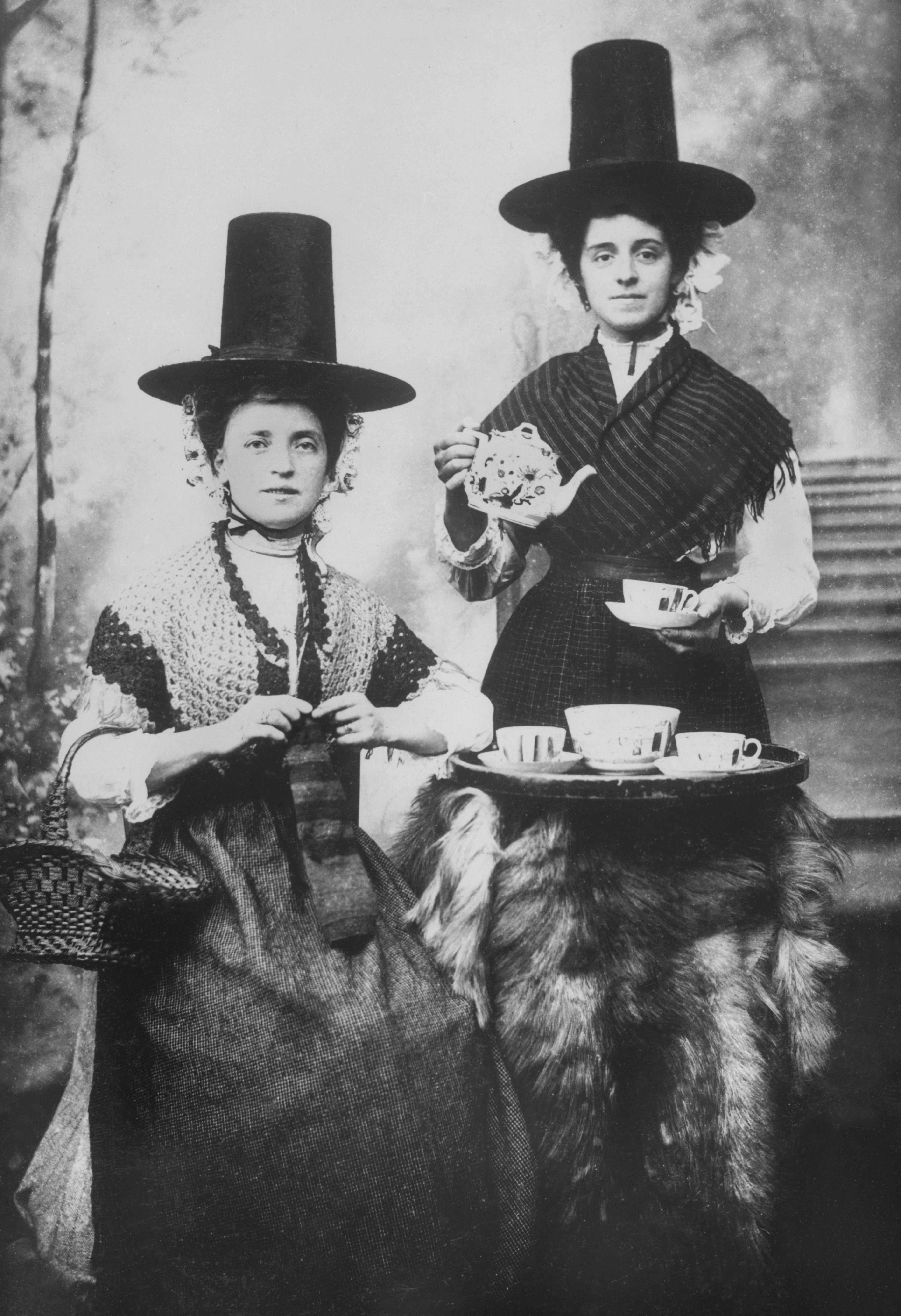 Women in traditional Welsh dress, c1896. (Past Pix/SSPL/Getty Images)