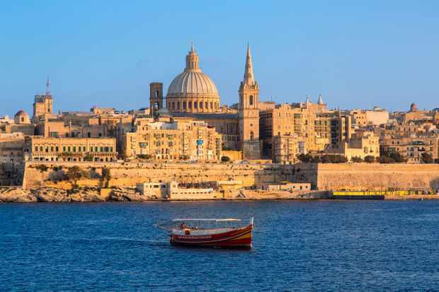 The Valletta skyline – in the centre is St Paul's Anglican Cathedral and Carmelite Church. (Photo by Getty Images)