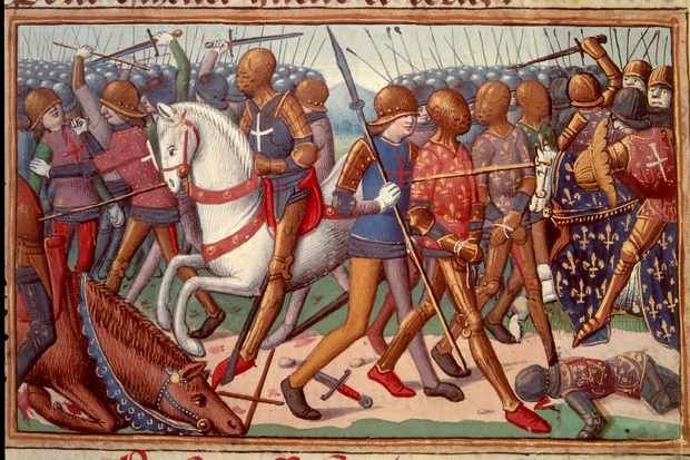 A 15th-century depiction of the battle of Agincourt