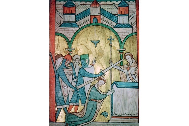 A late 12th-century illustration of the murder of Thomas Becket in 1170. (CM Dixon/Print Collector/Getty Images)