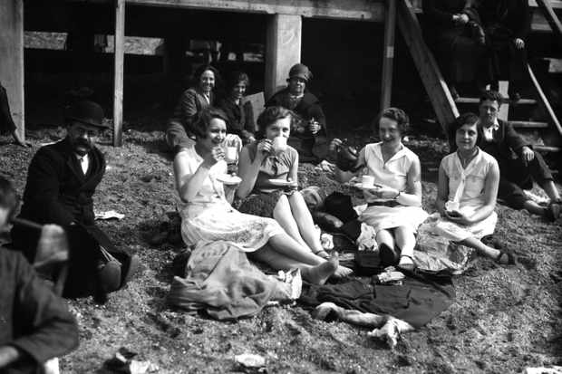 A beach scene at an Easter Bank Holiday at Southend, c1927. In 1871, the Bank Holiday Act established the first paid days off for commonworkers in England, while some senior managers could be granted extra leave. (Photo by Topical Press Agency/Getty Images)