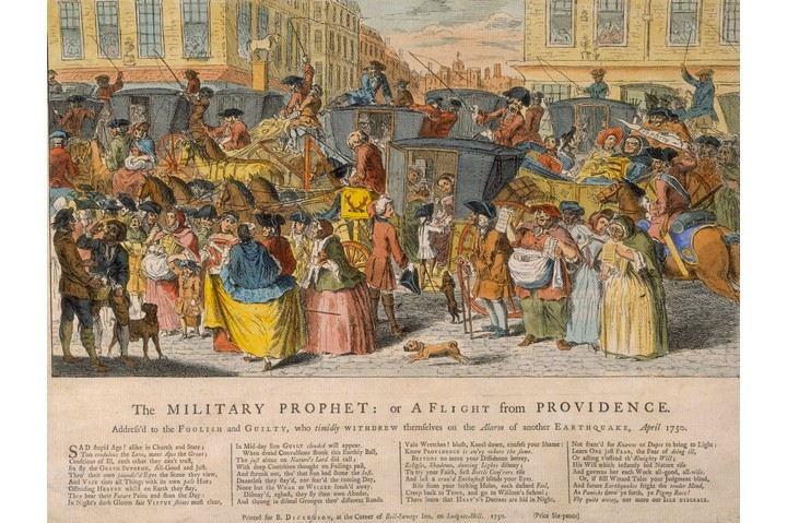 Londoners flee the city during the earthquake panic of April 1750. The poem underneath criticises those who would run away. (Photo by Museum of London/Heritage Images/Getty Images)