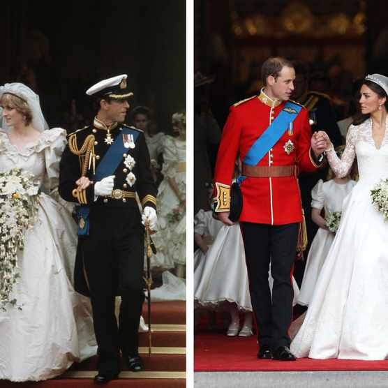 Left: Prince Charles and Princess Diana on their wedding day, 29 July 1981. Right: Prince William and Catherine Middleton on their wedding day, 29 April 2011. (Photo by Chris Jackson/Getty Images)