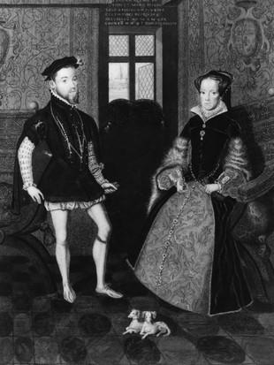 Une gravure de Joseph Brown de Philippe II et de Marie I, également connue sous le nom de Bloody Mary