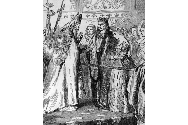 An illustration showing Henry VII and Elizabeth of York at the wedding altar