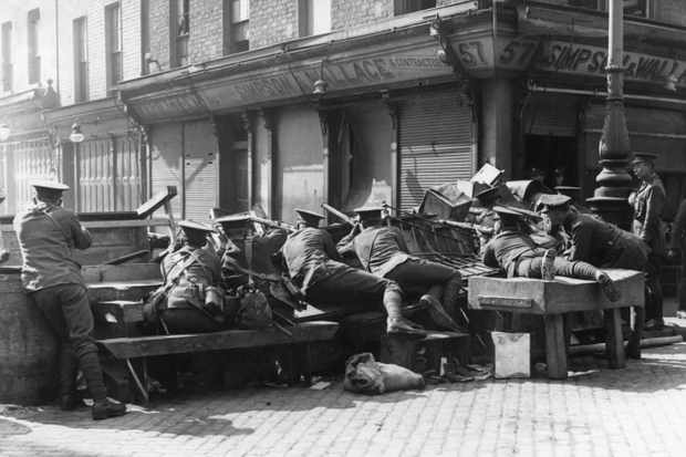 British military behind a barricade in Dublin, 1916. (Photo by ullstein picture via Getty Images)
