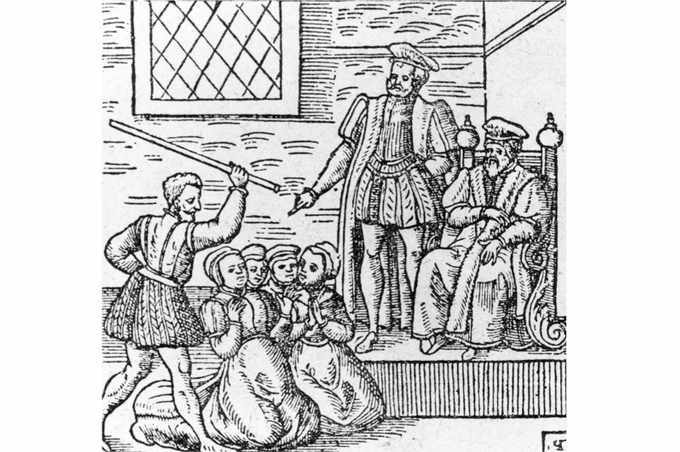 An illustration of a group of supposed witches being beaten in front of King James VI and I, c1610. (Photo by Hulton Archive/Getty Images)