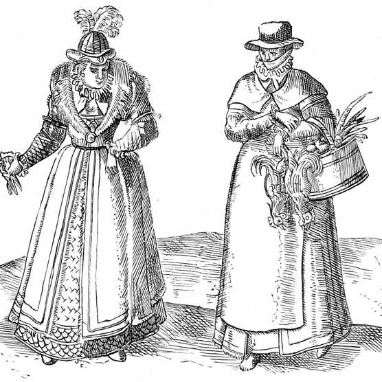 English countrywoman with lady of the Court, 1572. English countrywoman carrying basket of chickens and wearing apron over plain clothes (right). On left is a lady of the Court with fur-trimmed coat over embroidered dress. Sumptuary laws dictated what each caste of society could wear. From Braun Civitates Orbis Terrarum, 1572 (Photo by Ann Ronan Pictures/Print Collector/Getty Images)