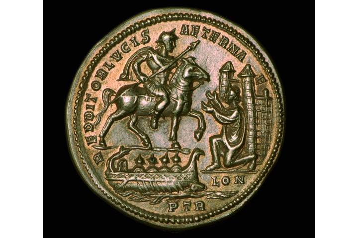 Gold medallion of Constantius I, from the mint of Trier. It depicts Constantius celebrating his victory over Alectus in AD 296. Constantius is shown on a horse at the gates of London, welcomed by Britannia. (Photo by CM Dixon/Print Collector/Getty Images)