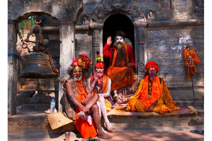 A group of Sadhu holy men at Pashupatinath Temple in Kathmandu, one of the most sacred Hindu temples in Nepal. (Photo by Getty Images)