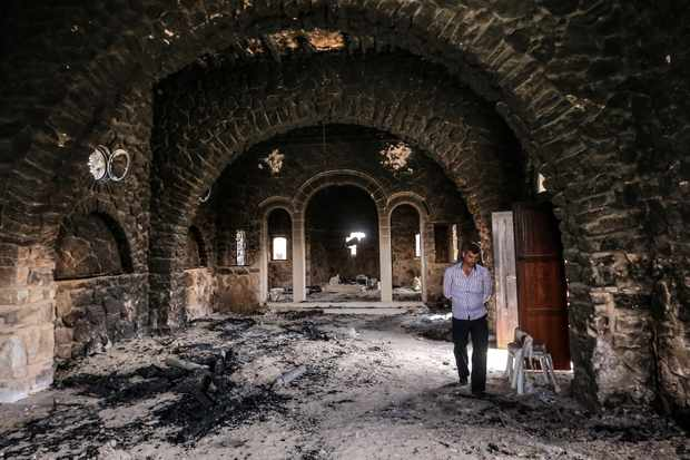 The Mar Elian Catholic monastery burnt by Islamic State militants in 2016. (Photo by Valery SharifulinTASS via Getty Images)