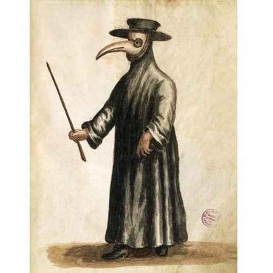 A Venetian plague doctor, c1800. (Photo by DEA Picture Library/De Agostini/Getty Images)