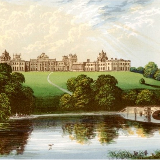 Blenheim Palace in a c1880 print from 'A Series of Picturesque Views of Seats of the Noblemen and Gentlemen of Great Britain and Ireland', edited by Reverend FO Morris, Volume I, William Mackenzie, London. (Photo by The Print Collector/Print Collector/Getty Images)