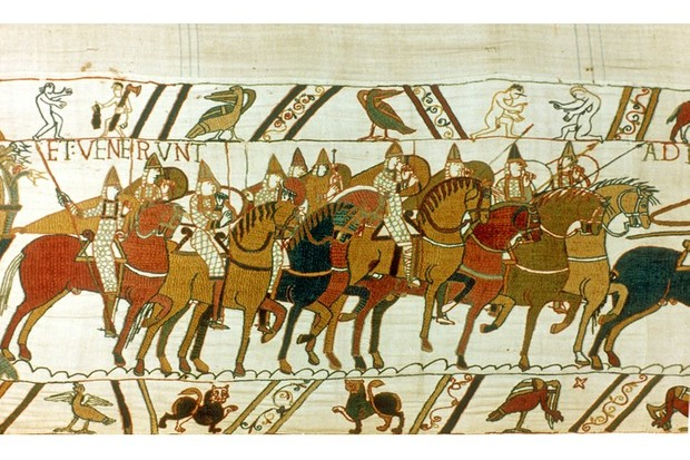 UNSPECIFIED - CIRCA 1754: Bayeux Tapestry 1667: William the Conqueror's Norman cavalry setting out to meet Harold II's English forces, Battle of Hastings, 14 October 1066. Textile Linen (Photo by Universal History Archive/Getty Images)