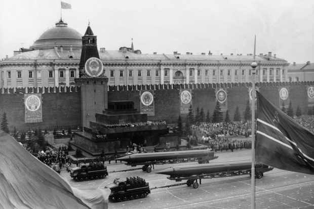 The USSR showcases its military might at the 1961 annual May Day parade in Red Square, Moscow. (Photo by Sovfoto/UIG via Getty Images)