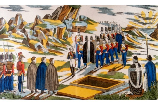 A French print depicting Napoleon's funeral cortege on St Helena. (Art Media/Print Collector/Getty Images)