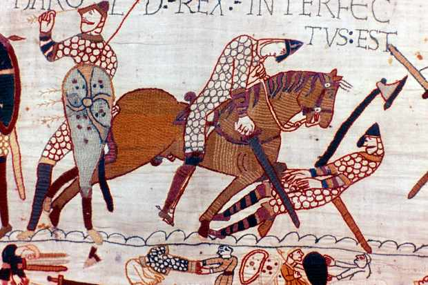 Events leading up to the battle of Hastings, and the conflict itself, are depicted in the Bayeux tapestry, a 68-metre-long embroidered frieze probably made within 20 years of the Conquest. (Photo by: Universal History Archive/UIG via Getty Images)