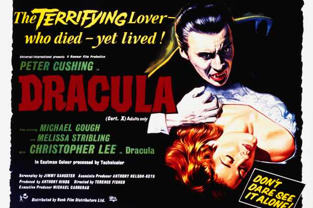 A poster for Terence Fisher's 1958 horror 'Dracula'