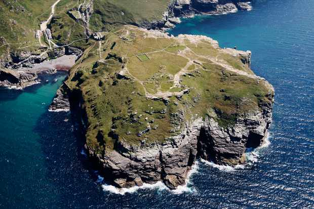 An aerial view of Tintagel Castle, Cornwall. (Photo by David Goddard/Getty Images)