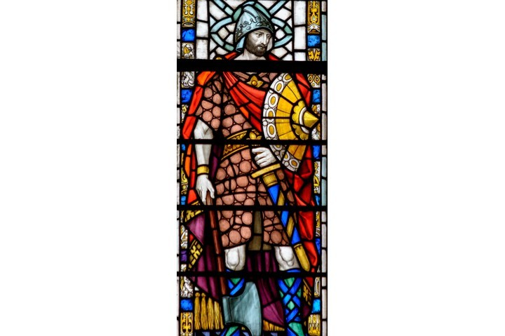 Stained glass in Exeter Cathedral depicting King Æthelstan. (Dreamstime)