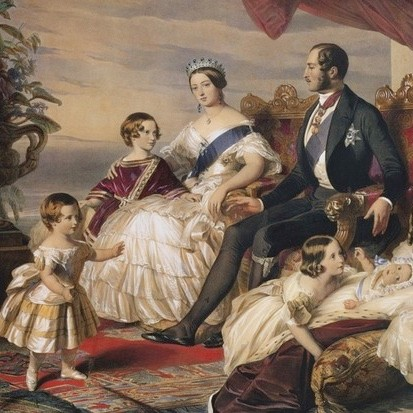 Queen Victoria and Prince Albert surrounded by some of their children at Windsor Castle. In the group are Princess Victoria; the future King Edward VII (as a young prince); Prince Alfred, Princess Alice and Princess Helena. Original artwork is a painting by Winterhalter in the Royal Collection. (GL Archive/Alamy Stock Photo)