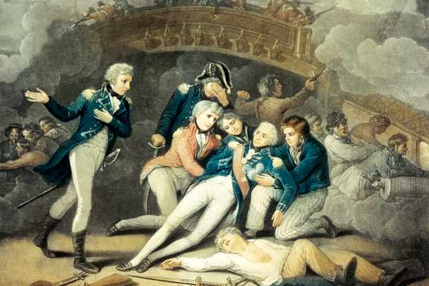 Nelson mortally wounded at Trafalgar in 1805