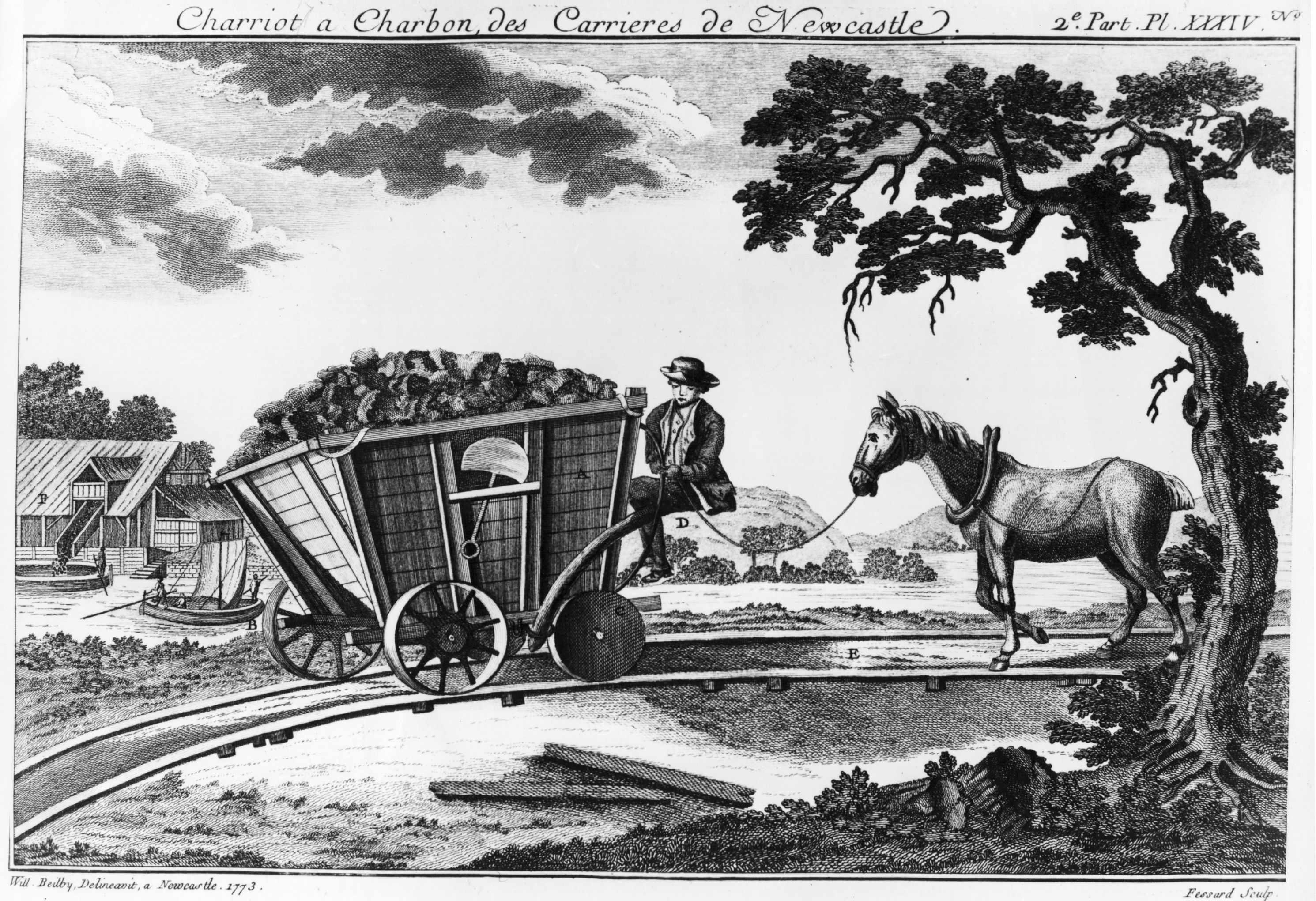An illustration from 'A Picture History of Railways' by C Hamilton Ellis, showing a filled wagon and a horse on a railway line. Railways were originally intended to move goods. (Photo by Hulton Archive/Getty Images)