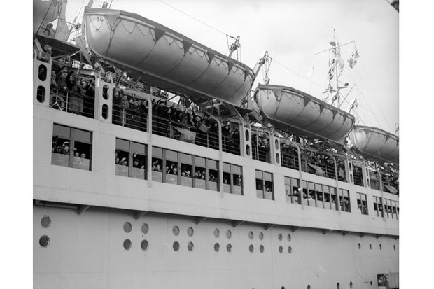Passengers on board the Wilhelm Gustloff c1939 giving the Nazi salute shortly before leaving Tilbury Docks. (Photo by London Express/Getty Images)