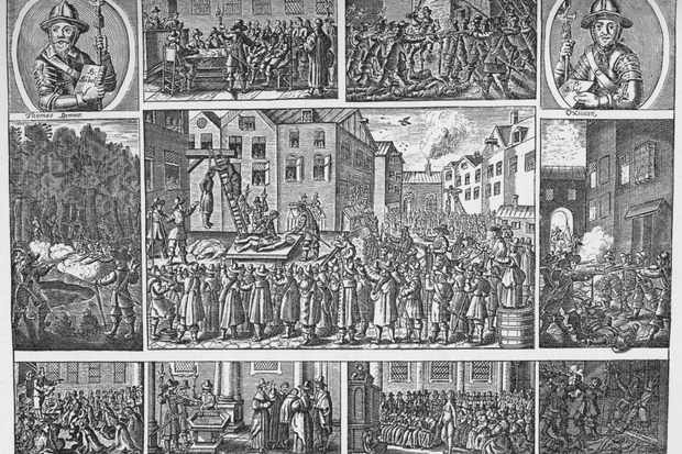In the central image, leading Fifth Monarchists are executed on 19 January 1661 following the bloody failure of their uprising. Their leader, Thomas Venner, was hanged, drawn and quartered. (Photo by The Print Collector/Getty Images)