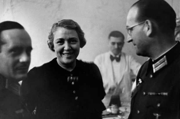 Singer Germaine Lubin in conversation with officer Hans Speidel at the German Embassy in Paris, 1941. (Photo by ullstein bild/ullstein bild via Getty Images)