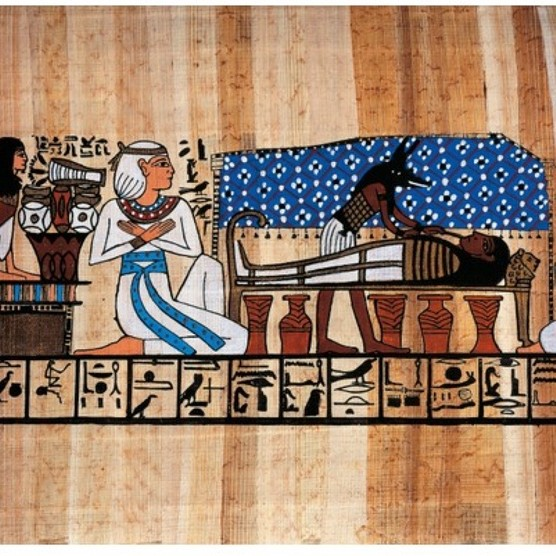 A reconstruction of an extract from the Book of the Dead depicting an embalming scene. (Photo by De Agostini Picture Library via Getty Images)