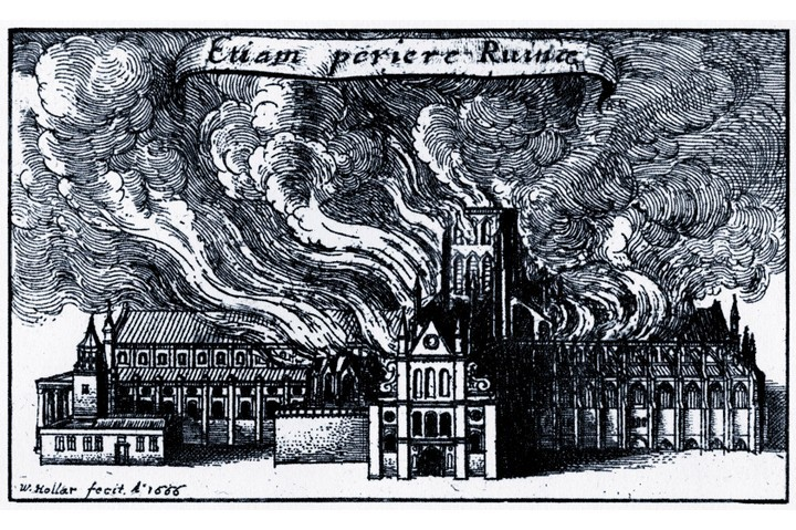 An engraving by Wenceslaus Hollar depicting Old St Paul's on fire during the Great Fire of London, 1666. Frantic efforts to fight the flames quickly turned into an equally fevered search for a scapegoat. (Photo by Culture Club/Getty Images)
