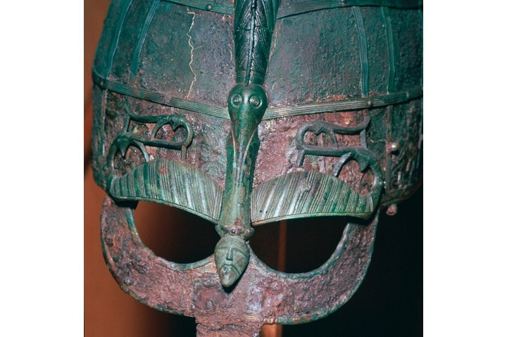 Detail of a Viking helmet from grave one at Vendel, Uppland, Sweden. In the 860s and 870s, the Vikings would bring war to England's four kingdoms on a massive scale. (Photo by CM Dixon/Print Collector/Getty Images)
