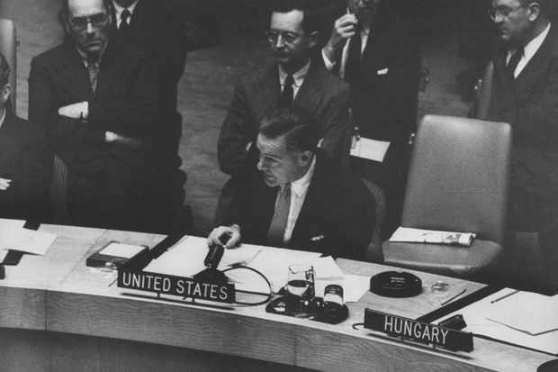 Henry Cabot Lodge Jr (centre) at a UN Security Council meeting concerning the Suez crisis. (Photo by Lisa Larsen/The LIFE Picture Collection/Getty Images)