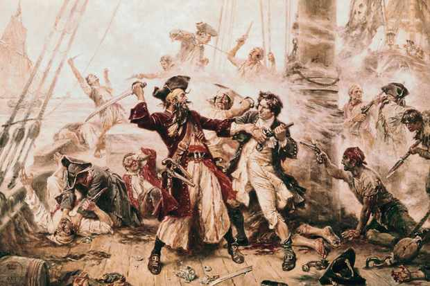 The capture of the pirate Blackbeard, 1718. Painting by JLG Ferris. One of history's most notorious pirates, Edward 'Blackbeard' Teach almost certainly had a West Country twang because he was born in Bristol in around 1680. (Photo by Bettmann via Getty Images)