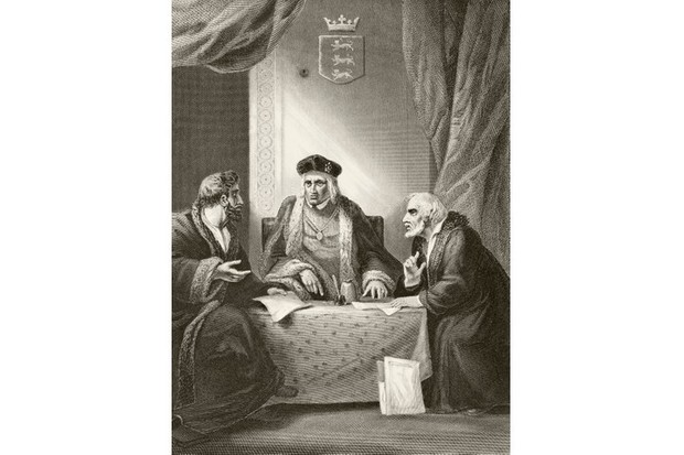 A painting of King Henry VII with two of his councillors Sir Richard Empson and Edmund Dudley. From 'The National and Domestic History of England' by William Aubrey, published in London c1890. (Photo by Universal History Archive/Getty Images)