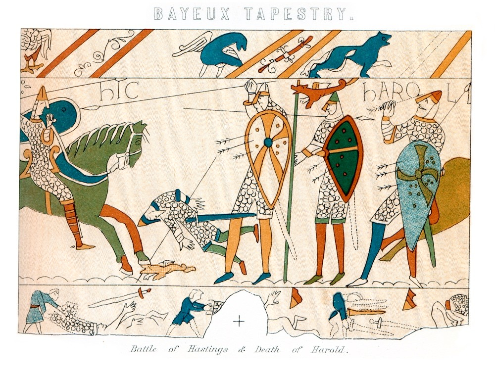 Vintage engraving showing a detail of the Bayeux Tapestry, the Battle of Hastings and the Death of King Harold. (Getty Images)