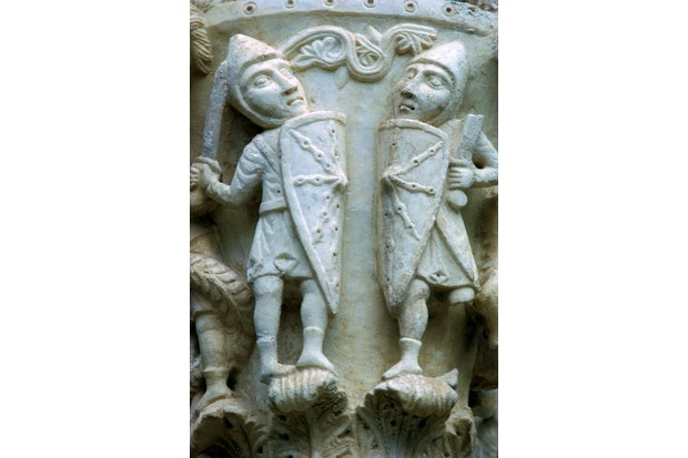 Detail of a column showing Norman Soldiers, 12th century.