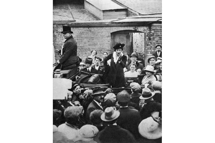 Viscountess Nancy Astor on her election campaign in 1919. (Photo by Culture Club/Getty Images)