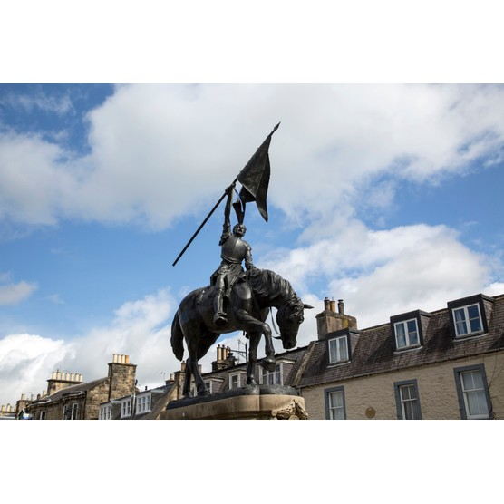 A battle of Flodden memorial statue of one of the Hawick Callants on horseback, raising the captured banner aloft in triumph. Hawick, Roxburghshire, Scotland. (Getty Images)