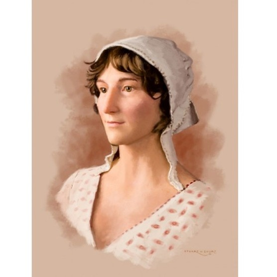 The most recent attempt at Austen's likeness, based on the life-size waxwork figure at the Jane Austen Centre. (Picture © The Jane Austen Centre, Bath)